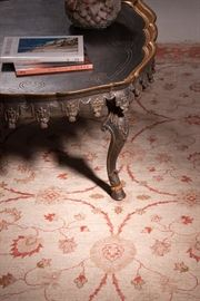 Fine Italian made Florentine coffee table, uncommon and rug from Pakistan