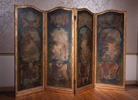 19th century French hand painted, gilt frame screen