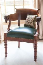 Acacia wood Rams Head armchair