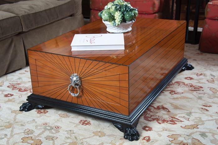 Fine Italian made yew and ebony wood coffee table, ample storage in two drawers, quite possibly the only example in the states.