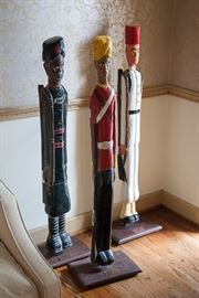 Wooden soldiers, India, about 4 ft tall