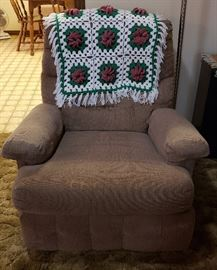 recliner in neutral fabric