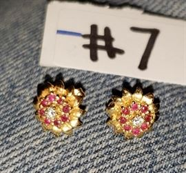 14kt ruby earrings.