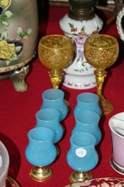 pair Moser goblets with heavy gold enamel,  French blue opaline glass clarets
