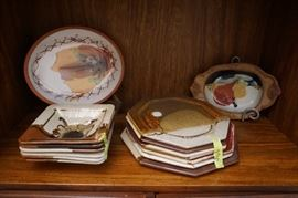 Vintage 1970's ceramic plates and serving dishes