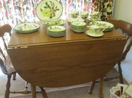 maple table & chairs & Blue Ridge dishes