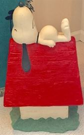 Snoopy and dog house statue - a little over 2' tall