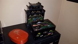 lacquer ware boxes, painted boxes, inlaid boxes