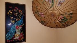 reverse painted/foil peacock, umbrella