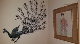 peacock wall hanging, Japanese print