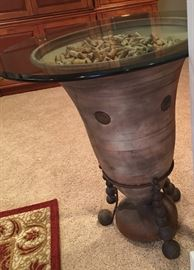 GLASS TOP WINE CORK TABLE ( WINE CORKS CAN BE REMOVED)