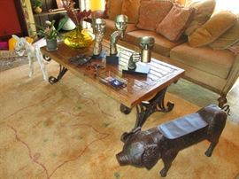Sculptures and coffee table