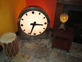 Industrial foundry clock lights up