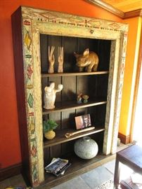 Hand carved bookcase from India was an altar door