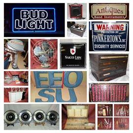 MAN CAVE, NEON, PORCELAIN GAS STATION, SIGNS, MUSTANG