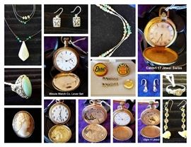 JEWELRY- POCKET WATCHES, STERLING, GOLD, ESSO, SOCONY, EXXON