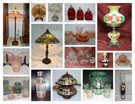 TIFFANY STYLE LAMPS & CEILING FAN, CARNIVAL & VASELINE GLASS, DAIRY CREAM BOTTLE
