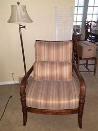 Pair of striped Flexsteel designer chairs