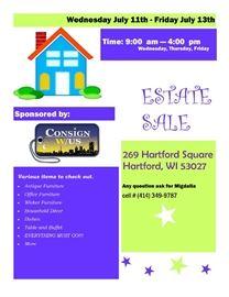 Estate Sale Flyer Hartford WI