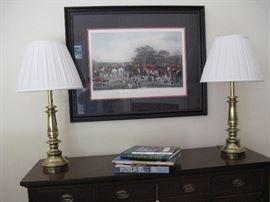 Pair Stiffel Lamps and Hunt Scene Print