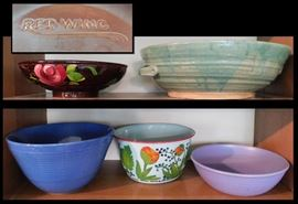 bab Bowls including Antique Red Wing Rose