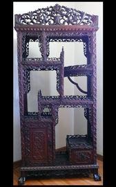 Ornate Antique Asian Carved  Shelving Unit.
