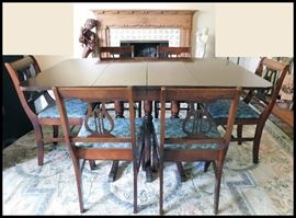 Vintage Dining Room Table with Six Chairs - Lyre Style Chairs.