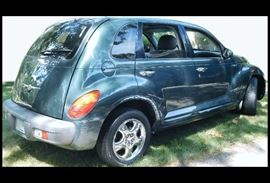 """2001 PT CRUISER wagon with only 50,292 miles. There are dings and scrapes on the outside and it needs new tires, but has a new battery and would make a good """"back to school"""" car. Deluxe interior with sunroof."""