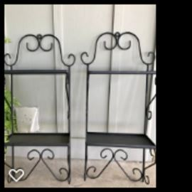 pair of iron shelves