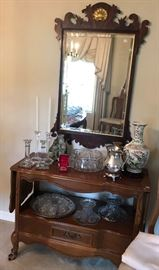 buffet table, Chippendale mirror