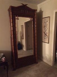 Bamboo armoire, shelves inside
