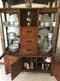 Elegant display cabinetf - filled with china and glassware