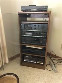 High-end stereo and audio equipment with speakers