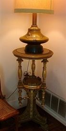 Fabulous Asthetic Movement plant stand and Bronze Japanese Lamp