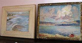 Pair of beautiful plein air vintage oils by Geraldine Birch-Laguna Beach artist