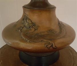 Vintage bronze Japanese lamp base