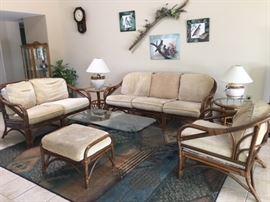 Brown Rattan/Upholstered Sofa, Love Seat, Armchair w/ Ottoman