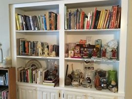 Books of all types plus home decor