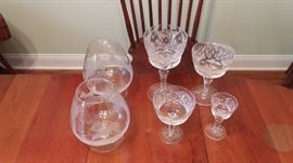 crystal stemware: 2 large brandy snifters, 8 settings of water/wine/wine/cordial and set of 4 cordial glasses
