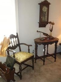 ANTIQUE FURNITURE AND CLOCK