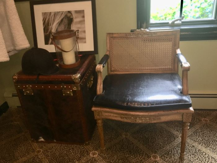 Pair French black leather & cane back chairs & Pair of English Pony fur trunks