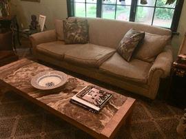 Sofa & vintage mid-century marble top coffee table