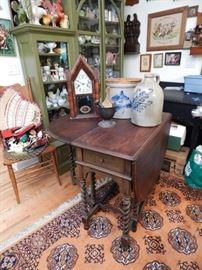 Antique clocks, crocks, and furniture