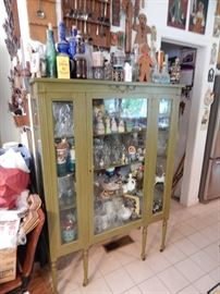Painted green curio cabinet FULL