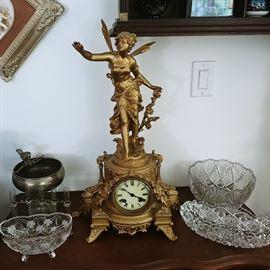 Ansonia Gilt figure mantle clock