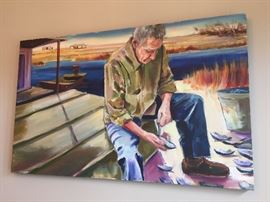 "very large original  painting of ""Shucking Oysters on the Bayou"" by well known Louisiana artist C. Breaux"