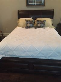 Queen bed and bedding number one