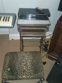 DVD Player, Mirrored Stacking Tables & Leopard Print Stool