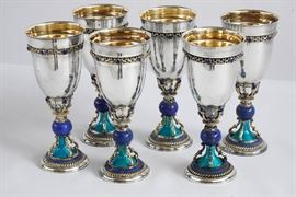 Exquisite Set of Six Sterling Silver Wine Goblets