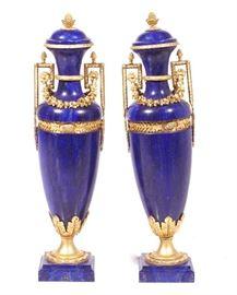 Large Pair Lapis Lazuli and Bronze Urns